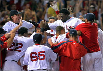 If David Ortiz walkoff homers (top) are becoming routine, you couldn't tell it from the reaction of his teammates.