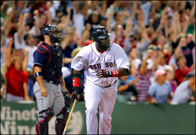 The Fenway fans are already in a frenzy as David Ortiz watches his game-winning three-run homer in the ninth fly out.