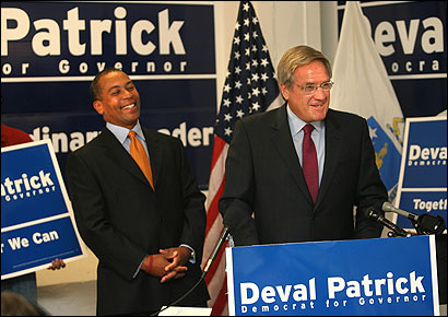 Scott Harshbarger said Deval Patrick (left) is the candidate who most closely shares his vision of government as a vigilant protector of the people against corruption, injustice, and violence and as a force for improving their lives.