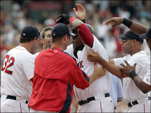 Ortiz ended another long game with an RBI single against the Angels in the 11th inning.