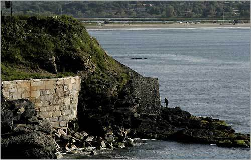 A view of The Forty Steps and Easton's Beach.