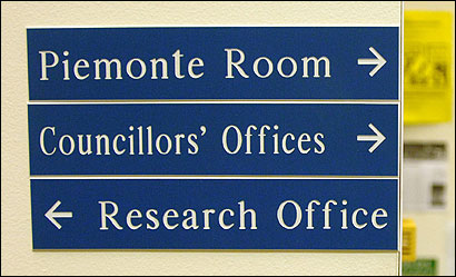 Signs at City Hall direct visitors to &#145;&#145;Councillors&#146; Offices,&#146;&#146; but many of those officials spell their title with one L.