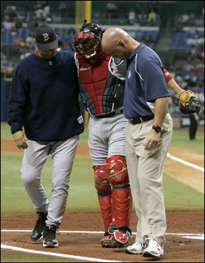 Doug Mirabelli was one man who was counted on to fill the hole left by Varitek, but in his fourth game of fill-in duties, Mirabelli picked up an injury of his own. Mirabelli's right ankle injury has forced the Red Sox to turn to the newly acquired veteran Javy Lopez.