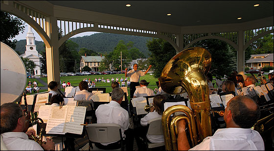 The South Royalton Town Band performs a summer concert at the twin gazebos on the South Royalton town green.