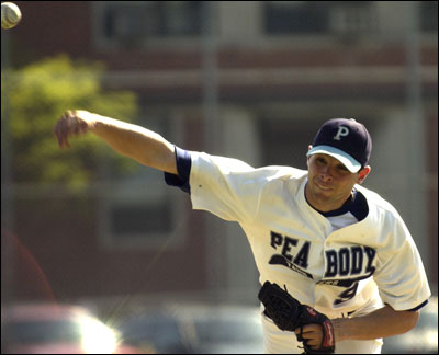 Jeff Allison hurls a pitch during a game against Somerville during his senior season at Peabody High in 2003.