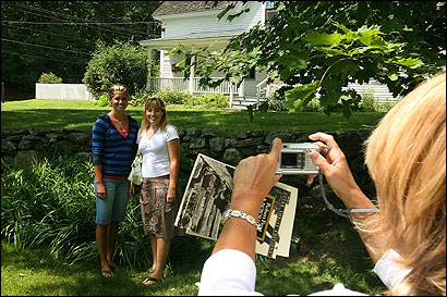 Judy Cantrell of Bakersfield, Calif., photographed her daughters, Mallory (left) and Emily, last week at the Robert Frost farm in Derry, N.H. Every year, more than 3,000 people visit the farm.