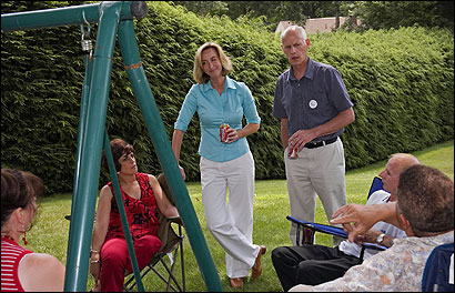 Striking a casual pose, Lieutenant Governor Kerry Healey took part in a conversation with a group of voters joining her for a backyard barbecue in Ware on July 9.