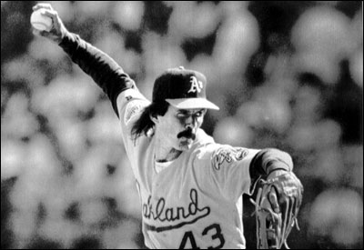 After a dominating season, Oakland closer Dennis Eckersley struggled in the 1992 ALCS because he was tipping his pitches to Toronto. ''They knew what I was throwing,'' he said.