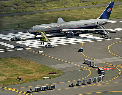 A United Airlines jet that had been headed to Dulles Airport from London sat on the tarmac at Logan Airport yesterday as luggage was unloaded after a security scare.