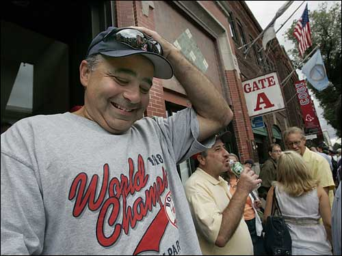 Jim Donaghey, 51, of Framingham looked stressed as he spoke to a reporter about the Red Sox.