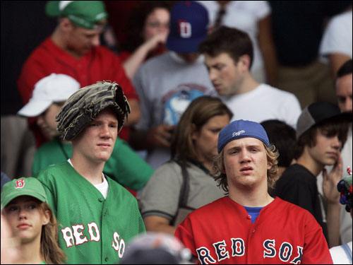 Two fans showed their disappointment with the Sox after their loss to the Yankees.