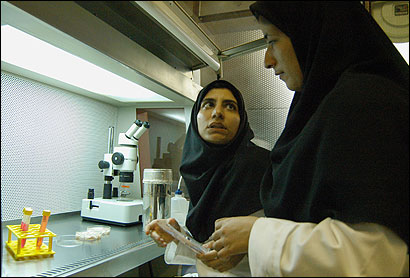 Two laboratory assistants worked in the genetic research lab at Tehran's Royan Institute, a jewel of Iran's science program.
