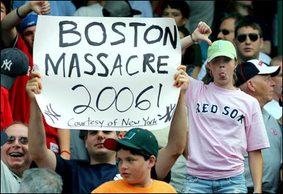 Yankee fans gloated after their team's 2-1 victory yesterday put the finishing touch on a five-game wipeout, to the dismay of Red Sox fans.