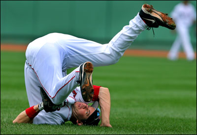 Like the Red Sox in the series, Mark Loretta was upended yesterday while trying for a second-inning Robinson Cano double.