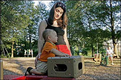 Irena Mroz said pesticides should be used if they keep people from dying. She played yesterday afternoon with her 15-month-old son, Nicholas, at Frothingham Park in Easton.