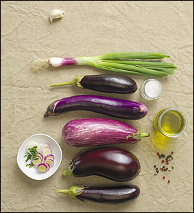 From bottom: Orient express, Santana or Nadia, Spanish or Fairy Tale, Machiaw, and Orient Express eggplants.