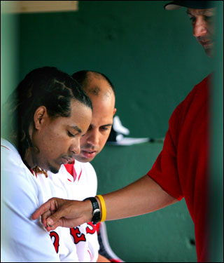 Manny Ramirez was sent back to Boston on Tuesday to undergo further examination on his knee by team medical director Dr. Thomas Gill. He has not played since August 26.