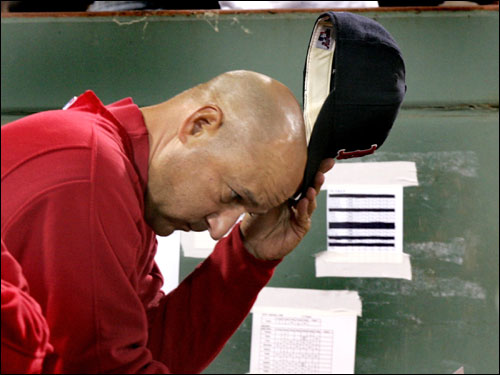 Red Sox manager Terry Francona and trainer Paul Lessard have seemingly been checking on a new injury each night lately. The Sox are the walking wounded -- possibly explaining much of their second-half struggles. Just when it seems it can't get any worse for Francona, another player goes down...