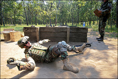Specialist Alessandro Licopoli, of Yuba City, Calif., practiced throwing grenades during training exercises at Fort McCoy, Wis., last month.