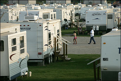 Renaissance Village, a FEMA trailer park in Baker, La., is one of 132 group sites in Louisiana. An estimated 298,000 people, displaced by Hurricane Katrina, are still living in trailers.