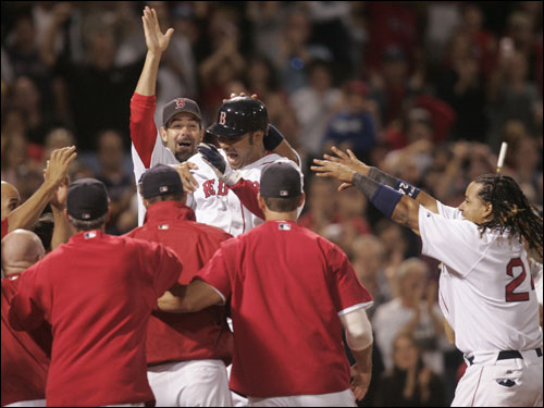 Pena, a Haverhill native, was mobbed at home plate as his first Red Sox home run gave the home town team the 3-2 victory over Chicago