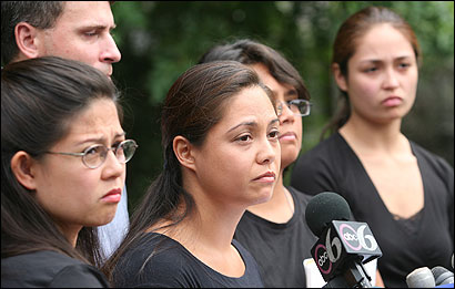 Nora Valdepeñas (center) and other family members talked about their brother and son, Eric P. Valdepeñas, a Marine reservist who was killed in action in Iraq. The 21-year-old, who put off his studies at UMass-Amherst when his unit was called up, was due to come home in October.