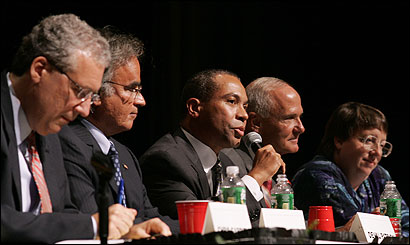 Gubernatorial candidates Christopher Gabrieli (from left), Christy Mihos, Deval Patrick, Thomas Reilly, and Grace Ross attended a forum at Roxbury Community College last night.
