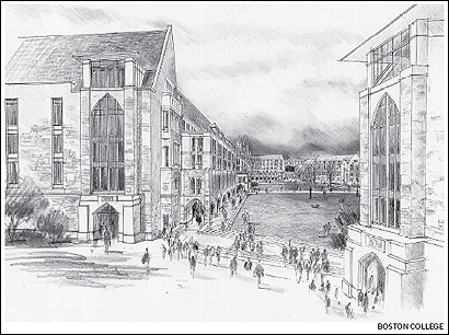 A rendering of the campus green at Boston College, as seen from the corner of Beacon Street and College Road. The sketch showcases a new Humanities Center, part of a master plan that BC trustees will vote on this month. The school declined to say how much the overhauls would cost.