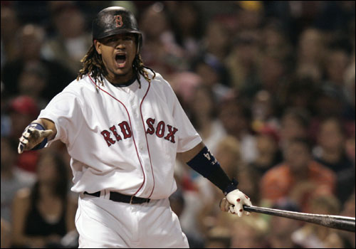 Manny Ramirez reacted after swinging at a bad pitch from Royals starter Luke Hudson in the first inning.