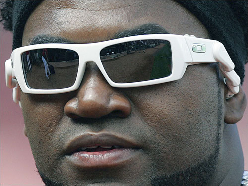 David Ortiz wore a pair of sunglasses with built-in headphones before the start of the game.