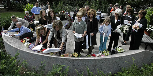 Families, friends, and those paying respects to the Sept. 11 victims visited the memorial in the Boston Public Garden today.