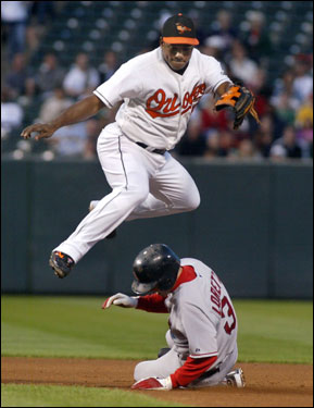 Orioles shortstop Miguel Tejada (top) lept over Red Sox base runner Mark Loretta at second base after forcing him out and throwing on to first base to complete a double play on David Ortiz in the first inning.