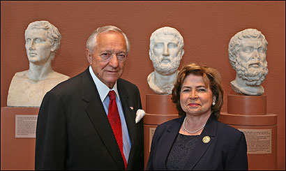 George D. and Margo Behrakis in the Museum of Fine Arts, Boston, on September 18, 2006. The couple have become museum 'Guardians' after giving $25 million or more in gifts to the MFA, including a previously anonymous $10 million donation made by George D. Behrakis.