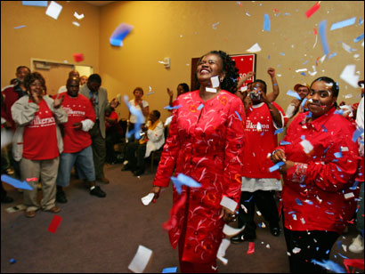 Dianne Wilkerson was showered with confetti and cheers yesterday. The state senator declared victory before final results were in.