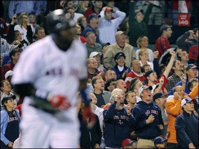 The Fenway crowd rose to watch Ortiz's 50th home run of the season, which tied him with Jimmie Foxx for the team's single-season record.