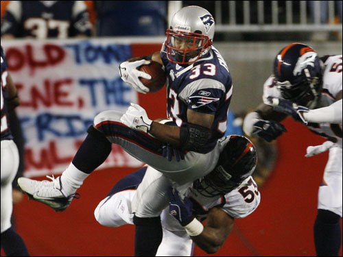 Kevin Faulk was brought down on a first half kickofff return by Denver's Louis Green.