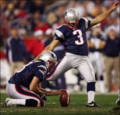 Patriots rookie kicker Stephen Gostkowski had his second blocked kick in as many weeks as the Patriots failed to tie the score in the first half.