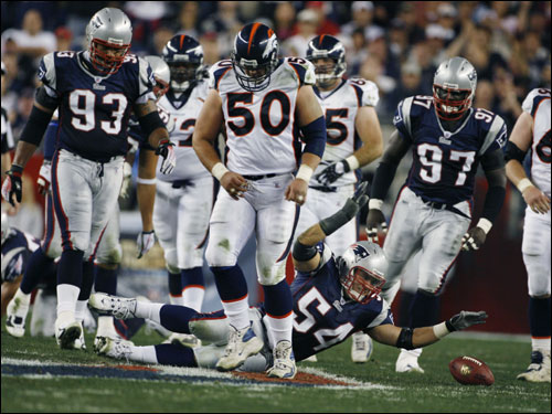 Tedy Bruschi (54) deflected a first half Jake Plummer pass, but it fell to the ground before he could catch it.