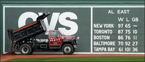 The Red Sox season is over, as the local nine missed the playoffs for the first time since the 2002 campaign. Monday at Fenway Park, with the AL East standings reflecting the season that started out with promise but ended in the dumpster, a truck dumps a load of dirt on the warning track.
