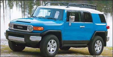 Tested on the ''wicked hard red course'' at Pocono Raceway, and handling it well were the Toyota FJ Cruiser (shown), the Jeep Wrangler Rubicon, the Nissan Xterra, and the Land Rover Range Rover.