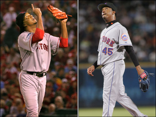 Pedro Martinez, who won't be on the postseason roster for the Mets due to an injured shoulder, spent seven dominant years as the Red Sox ace.