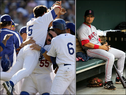 Nomar Garciaparra played shortstop in Boston for almost nine seasons and was the face of the franchise. After being traded to the Cubs during the 2004 season, Nomar became a first baseman for the NL Wild Card-winning Dodgers, and contributed a number of clutch hits down the stretch.