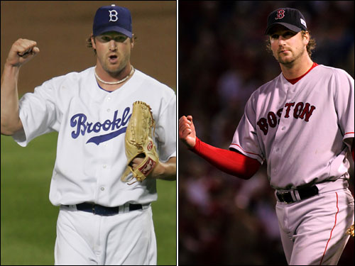 Derek Lowe came to the Red Sox in 1997 and played seven more seasons for Boston after that. Lowe got the decision in all three clinching games in the 2004 postseason and will try to continue his postseason success for the Dodgers. He's been one of the best pitchers in the National League over the last couple of months.