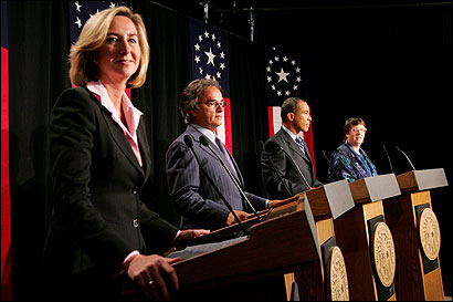 Candidates for governor (from left) Kerry Healey, Christy Mihos, Deval L. Patrick, and Grace Ross met last night in a debate in Springfield.