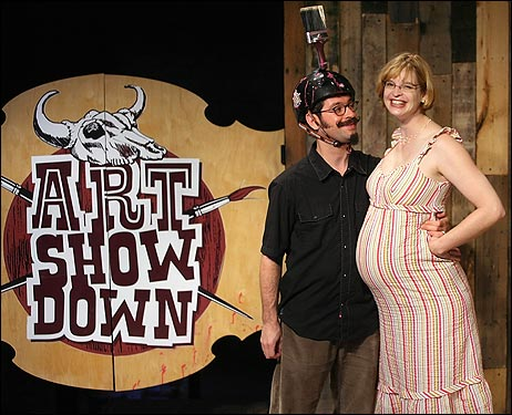Sculptor Ellen Wetmore and multimedia artist Jeff Warmouth built their relationship on respect for each other's art. Together, they created 'Art Show Down,' a humorous, Old West-motif game show about art and the lives of artists. Wetmore, who is pregnant with the couple's baby, uses her art to poke fun at and savor pregnancy. Warmouth, a prankster artist inspired by the Marx Brothers, created 'Day of the Cabbage,' a film that depicts a giant cabbage hurtling towards earth.