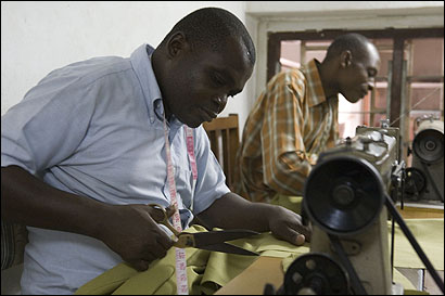 As a Christian, Vincent Charo (left) has received a loan funded by a US-based Christian group to start a tailoring business. Mohammad Masudi, a Muslim, has no such prospects.