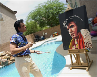 Beside the guitar-shaped swimming pool, he touches up one of his Elvis portraits. Connolly attended Worcester Art Museum School.