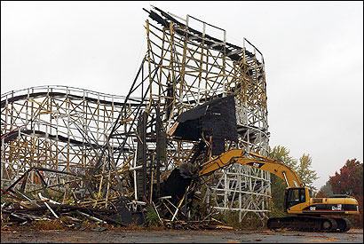 Whalom Park closed six years ago, but its best-loved attraction — the wooden roller coaster known as ''The Black Hole'' — survived until yesterday. The demolition is making way for a condominium development.