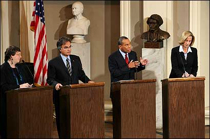Candidates (from left) Grace Ross, Christy Mihos, Deval L. Patrick, and Kerry Healey took part in a televised debate at Faneuil Hall last night.