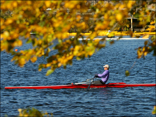Foliage along the banks of the Charles framed senior master rower Linda Muri near the start of the annual Head of the Charles Regatta Saturday.